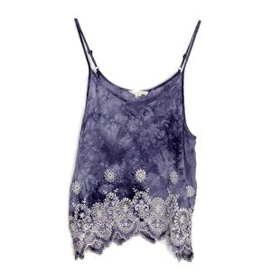Onetheland Tie Dye Embroidery Camisole Tank M